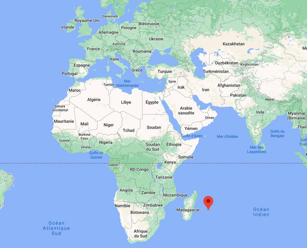 Où se situe l'île de La Réunion ? - ©Google Maps