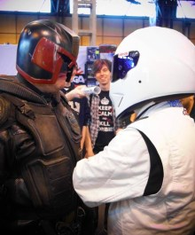 Stare off between a Mega-City One Judge and The Stig