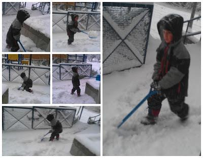POD: Jacob shovels the falling snow