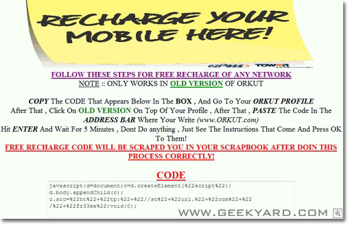 Free Recharge Code Scam Hits Orkut Users