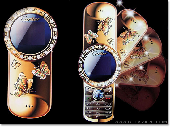 Cartier v7 butterfly gold mobile cell phone