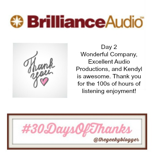 Day 2 #30DaysofThanks #BookGram Brilliance Audio