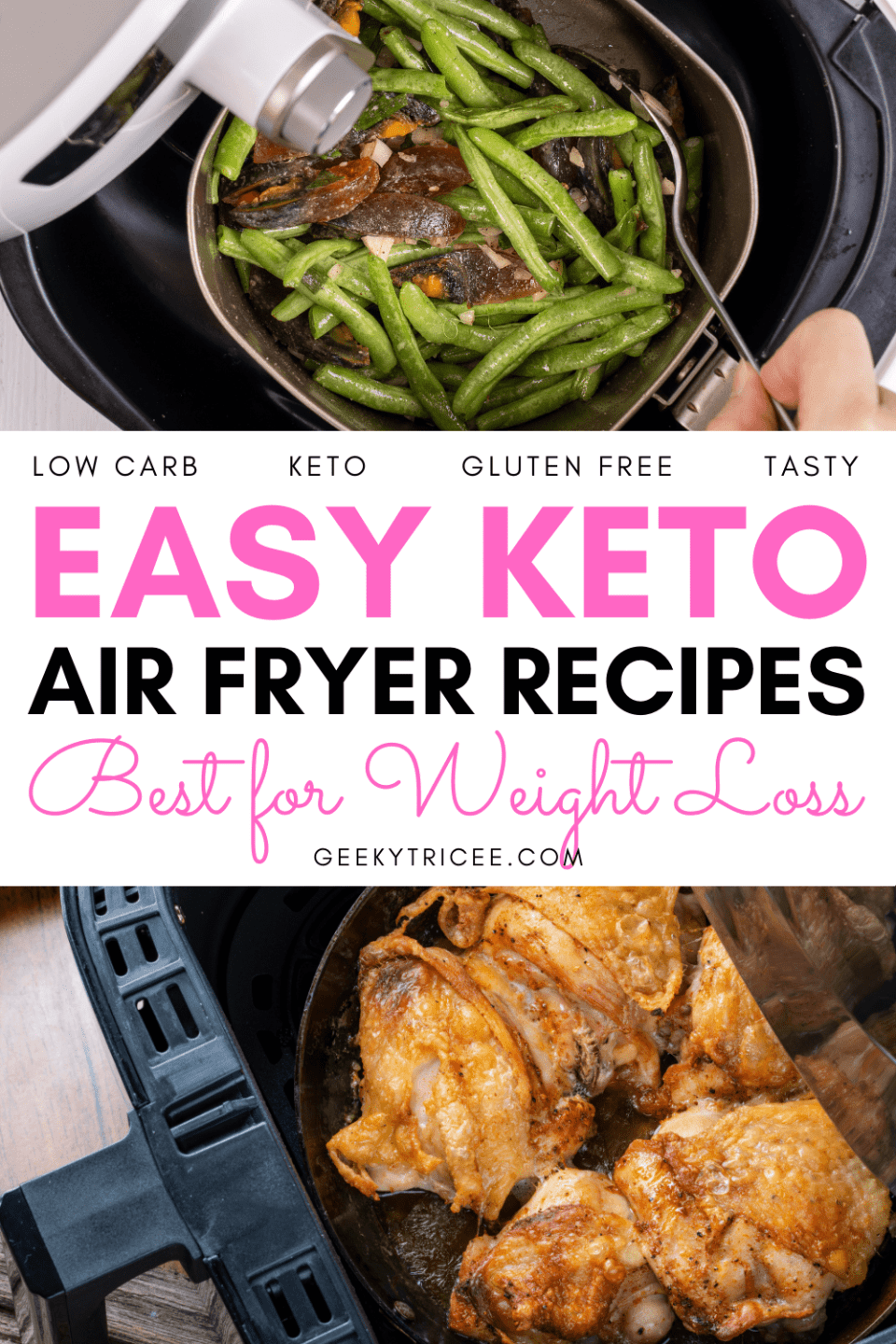 Easy keto air fryer recipes best for weight loss Pinterest pins