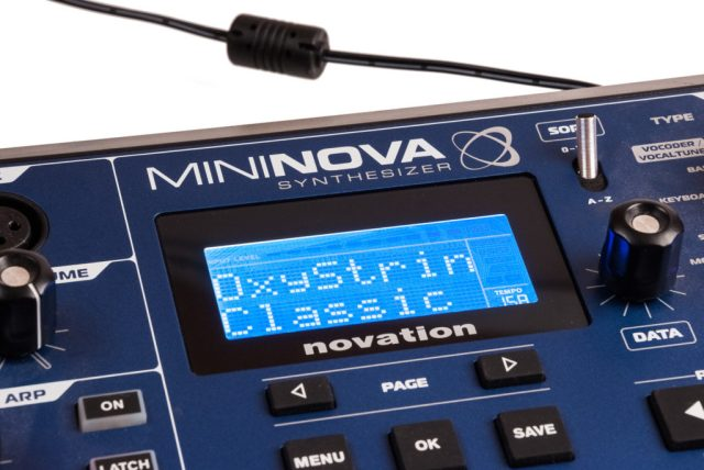 The MiniNova's clear white-on-blue LCD is easy to navigate