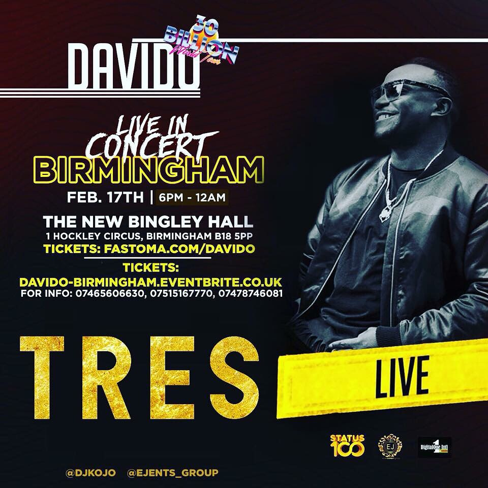 Check the Event / Davido & Tres live Concert in Birmingham (02/17