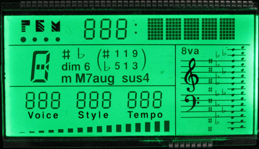 STN (super-twisted nematic) positive LCD display (dark characters on a light background)