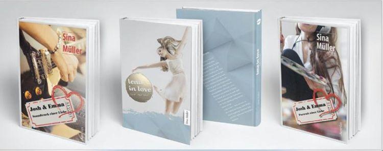 """Die gesasmmelten Werke der Sina Müller :-) Die beiden Bände von """"Josh & Emma"""" sowie ihr jüngst erschienenes Buch """"Lena in Love"""""""