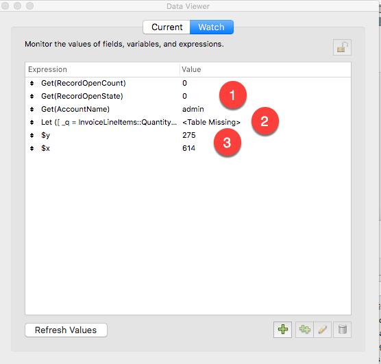 FileMakerデータビューアの[ウォッチ]タブ