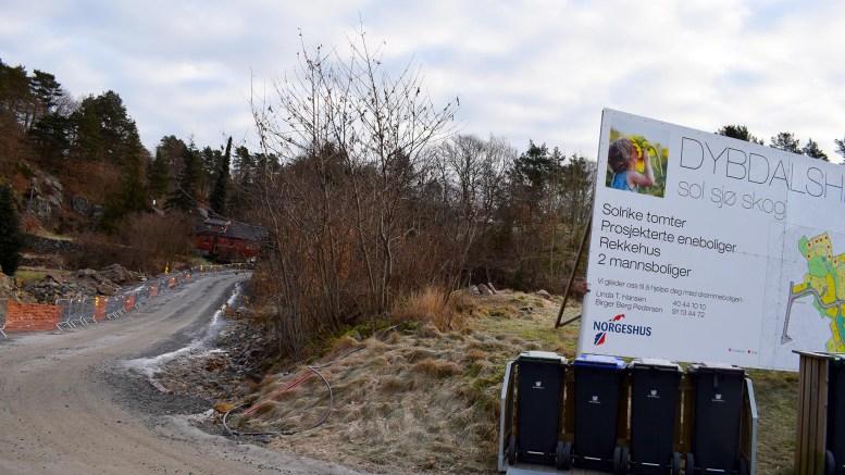 MÅ SKIFTE NAVN: Veien til boligfeltet på Dybdalsheia får nytt navn. Det har navnekomitéen i Arendal bestemt. Foto: Esben Holm Eskelund