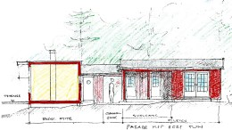 FÅR BYGGE: Hytteieren får bygge på hytta på Merdø. Slik er fasaden inn mot eget tun på eiendommen skissert. Illustrasjon: Tyholmen Arkitektkontor