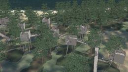 RAET LANDSKAPSHOTELL: Hytter på pæler åtte til ti meter over bakken, med hengebroer som offentlig folkesti kan bli bygget på dagens Hove Camping, som får nytt navn. Pressefoto