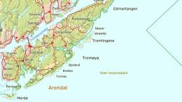 PÅKJØRSLER: Flere rådyr er påkjørt på Tromøy så langt i år. Kart: Hjorteviltregisteret