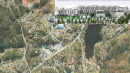 HELSEHUS SALTRØD: Saltrød peker seg ut som foretrukket alternativ for det største av to helsehus, som kan bli bygget i Arendal. Fra toppen vil det være utsikt til Raet, Hove og Tromøy. Illustrasjon: Kart: fra saksfremlegget
