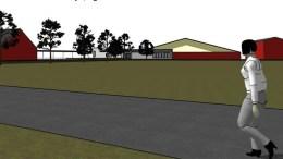 FRA HOVEVEIEN: Slik kan fotballhallen bli seende ut fra adkomstveien til leiren sett fra syd. Illustrasjon: Trafo Arkitektur
