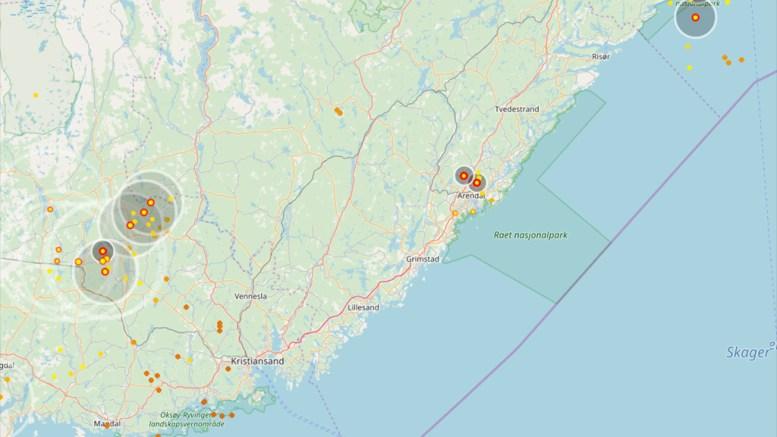 LYNKART: Tordenbygene treffer over oss torsdag. Her kan du følge lynaktiviteten i sanntid. Kart: Blitzortung/Lightningmaps.org