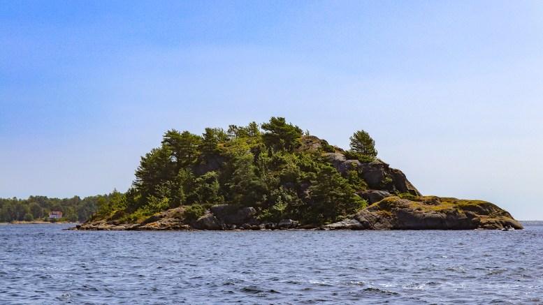 BRATTHOLMEN: Den største av to i Revesandsfjorden. Foto: Esben Holm Eskelund
