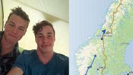 PÅ SPORET: Simon Simonsen (t,v.) og Isak Knutsen lar deg følge turen Norge på langs digitalt. Foto: Privat/Facebook