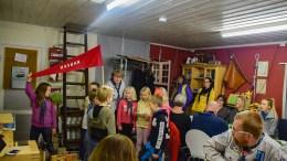 SPEIDERFEIRING: 2. Tromøy speidergruppe feiret retten til å bruke speiderhytta på Nesland på Alve på behørig vis. Foto: Esben Holm Eskelund
