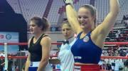 VANT VM-STARTEN: Amalie Anker Johansson (22) slo fra seg i VM-debuten i Tyrkia mot sin bosniske motstander. Foto: Privat