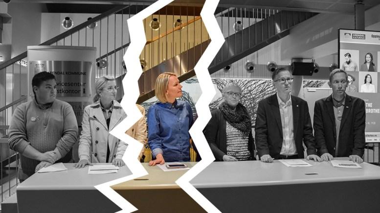 HAVARERTE: Sekspartisamarbeidet i bystyret i Arendal havarerte etter to måneder etter at SVs gruppeleder Inger Brokka de Ruiter hevder at partiet har blitt kastet ut av det gode selskap. Foto: Esben Holm Eskelund / Montasje