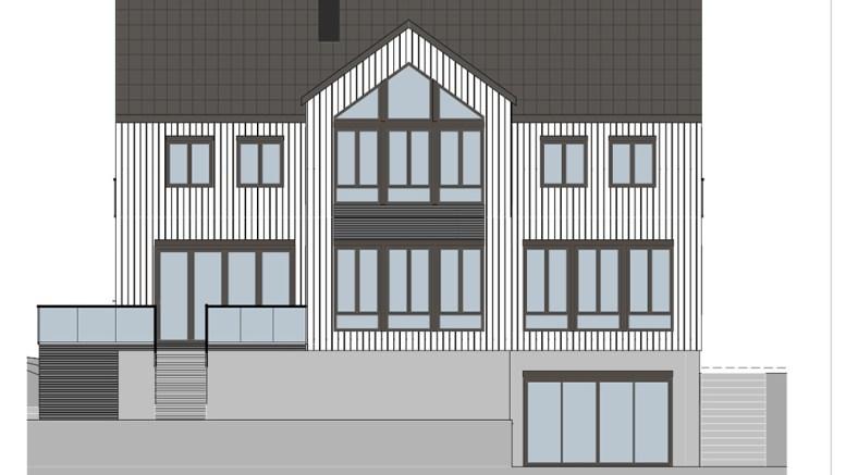 NY BOLIG: Den nye boligen i Åsen vil få kjeller, to etasjer og bli litt høyere enn eksisterende hus på eiendommen. Illustrasjon: Lindal Hus / fra søknaden