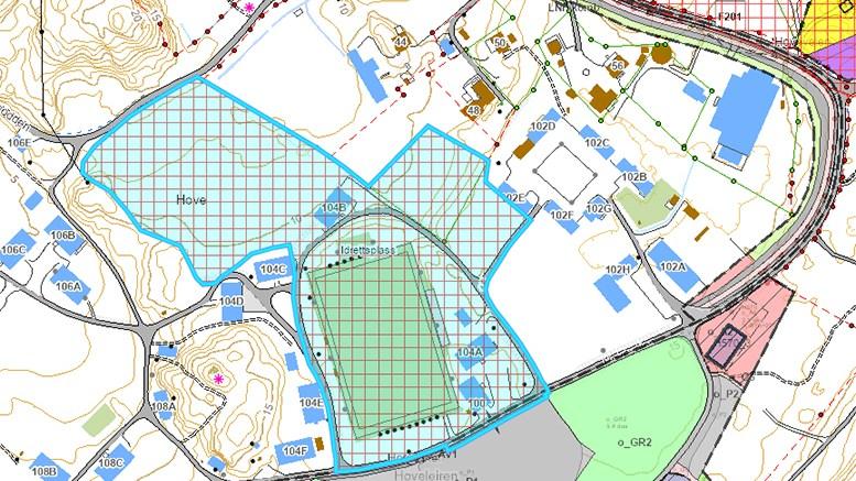 PLANLEGGING I GANG: Hove kan få ny fotballhall. Reguleringsplanarbeid er nå startet. Illustrasjon: arendalskart.no