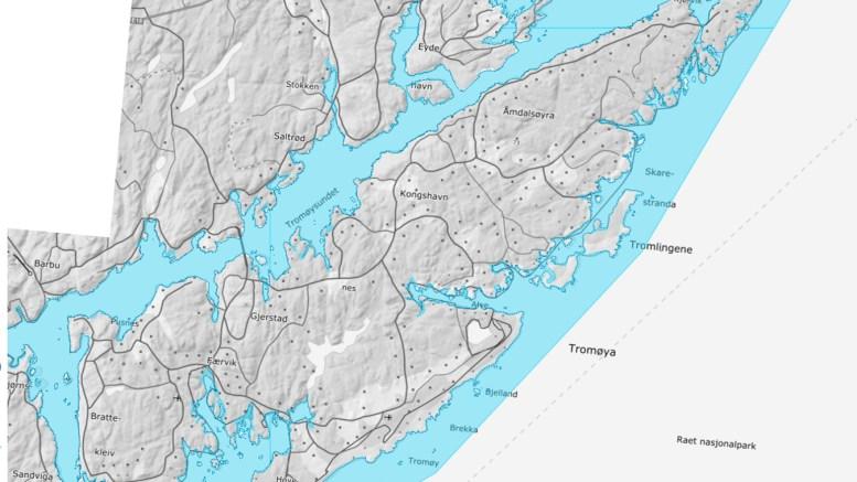 SJEKK TROMØY: Det interaktive kartet lar deg sjekke hvordan stormflo og havnivåstigning kan påvirke kystområdene. Foto: Skjermbilde fra Kartverket