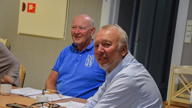 KORONASTØTTE: Styreleder Morten Kraft i HDU og daglig leder Terje Stalleland fotografert på styremøte i selskapet i fjor høst. Arkivfoto