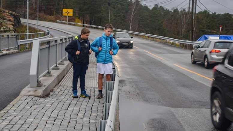 VANNTRØBBEL: Haakon Saxlund Gundersen (t.v.) og Erlend Terkelsen mener vannmengdene som ofte samler seg i en stor dam på fylkesveien ved Ubekilen kan være livsfarlig. Foto: Esben Holm Eskelund