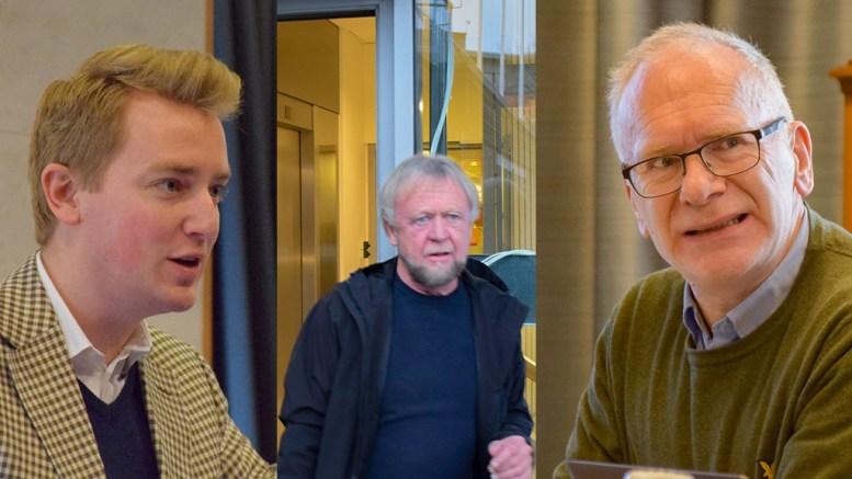 HOVE PÅ MAIL: Thore Kristian Karlsen (Hovelista) sendte et innspill på e-post om aksjonærsituasjonen i Canvas Hove. Det ble tatt ulikt imot av (t.v.) Haagen Poppe (H) og (t.h.)Atle Svendal (Ap). Arkivfoto/Montasje