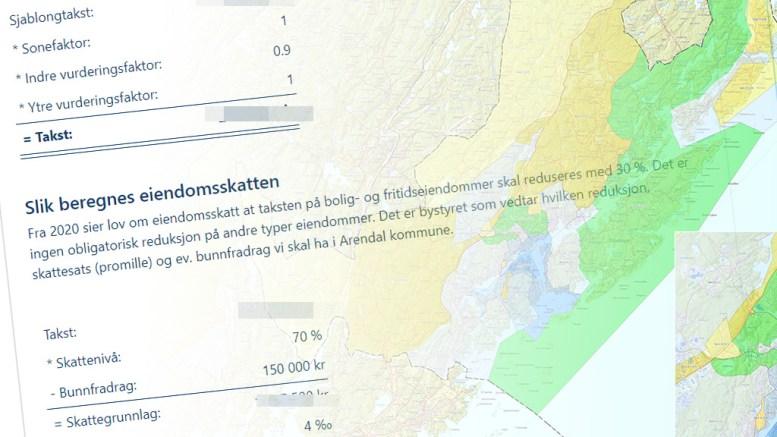EIENDOMSSKATT: Eiendommer og fritidseiendommer i Arendal kommune er kartlagt, og nå er skattevedtakene klare. Kart/Illustrasjon