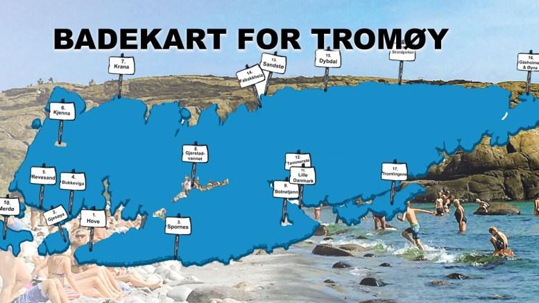 BADEKARTET: 18 små og store badeplasser på Tromøy. Her finner du dem! Illustrasjon: Lokalavisen Geita