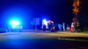 MC INVOLVERT: Føreren var ved bevissthet og ble kjørt til sykehus i ambulanse, etter trafikkuhell ved Tybakken terrasse mandag kveld. Foto: Esben Holm Eskelund