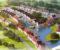 OPPDATERTE PLANER: En ferielandsby med kanal om sommeren og skøyteis om vinteren er inne i forslaget til en omfattende utbygging av Arendal Herregaard. Illustrasjon: XR AS