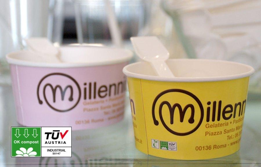 Gelateria Millennium utilizza contenitori Pla e Ok compost