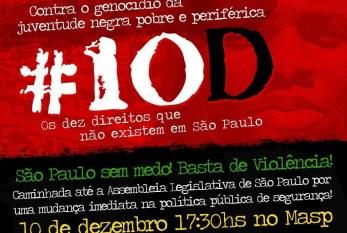 Segunda,10 –  Manifestação contra o Genocídio da Juventude Negra  – 17:30 MASP