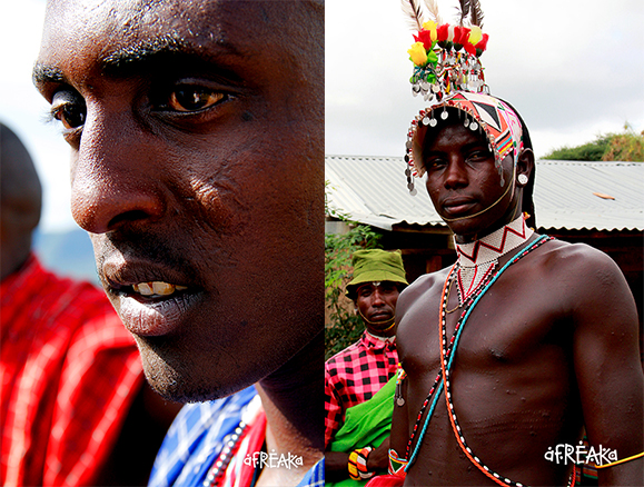 Escarificação Maasai (à esq.) e Escarificação na região do abdômen de guerreiro Samburu