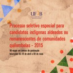 UFRB oferece vagas para indígenas aldeados e remanescentes de comunidades quilombolas
