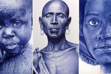 Desenhos impressionantes feitos com caneta bic por artista ganense