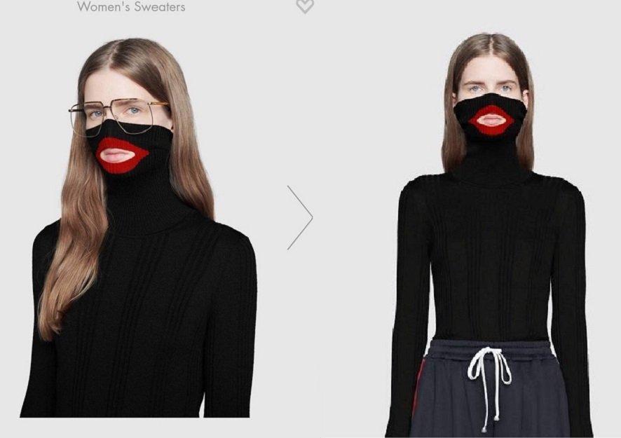 mulher com blusa preta e boca vermelha