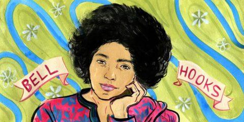 """Ilustração de uma mulher negra com a mão no rosto, ao fundo é possível ver a frase """"Bell Hooks"""""""