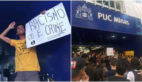 """Jovens durante o protesto, cartaz com a frase """"Racismo é crime"""" pode ser identificado em meio a multidão."""