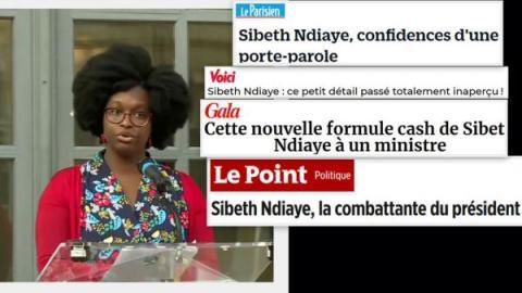 Sibeth Ndiaye, mulher negra de óculos e cabelo Black, e manchetes espalhadas pela imagem