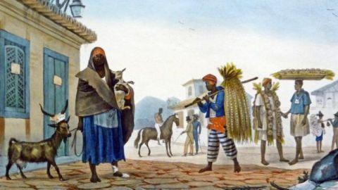 Pintura de uma pequena cidade, com escravos cuidando de animais e andando com trigo entre os ombros.