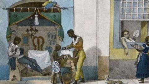 Pintura que mostra pequenos comerciantes negros.