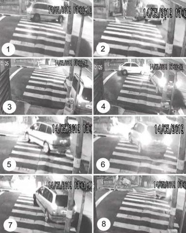 1) Motorista para o carro para conversar com travestis; 2) Na esquina, ele volta a falar com uma travesti; 3) Ele dá ré no veículo até bater no meio-fio; 4) Motorista avança o carro e espera outros veículos passarem; 5) Homem volta a discutir com uma travesti; 6) Ele avança o carro contra o grupo de travestis e bate em um muro de uma casa; 7) Motorista dá ré; 8) Ele foge do local