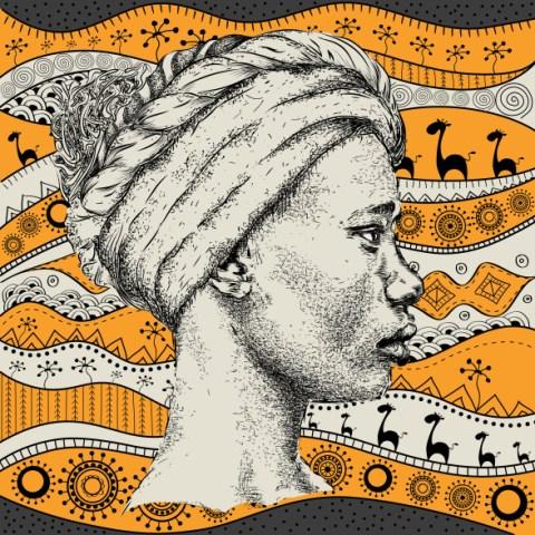 Ilustrabção em preto e branco de uma mulher com turbante, ao fundo estampa característica da cultura africana