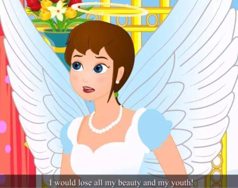 Animaçã de uma menina branca com roupa de fada