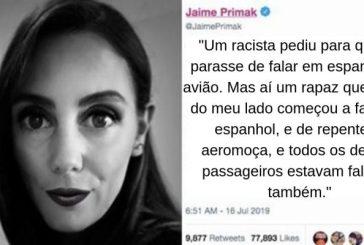 """Homem manda mulher """"parar de falar espanhol"""" em avião, mas outros passageiros começam a falar também"""