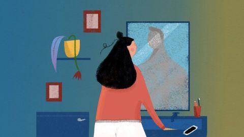 Ilustração de uma mulher olhando para o espelho e vendo o reflexo de um homem